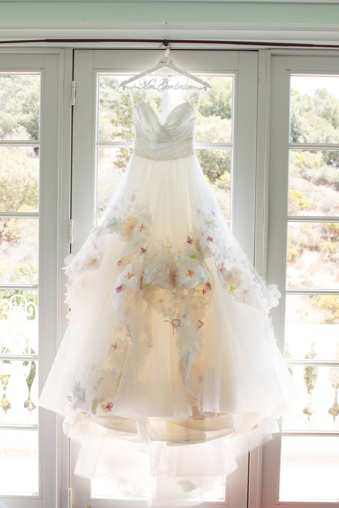 Princess Spaghetti Strap Colorful Appliques Ruffles Ball Gown  Wedding Dresses, AB1169