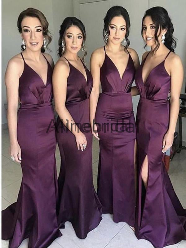 Purple Spaghetti Strap Lace Up Backless Mermaid Sexy Split Long Bridesmaid Dresses , AB4002