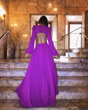 Purple Long Sleeve V-neck Open Back Prom Dresses ,PD00198