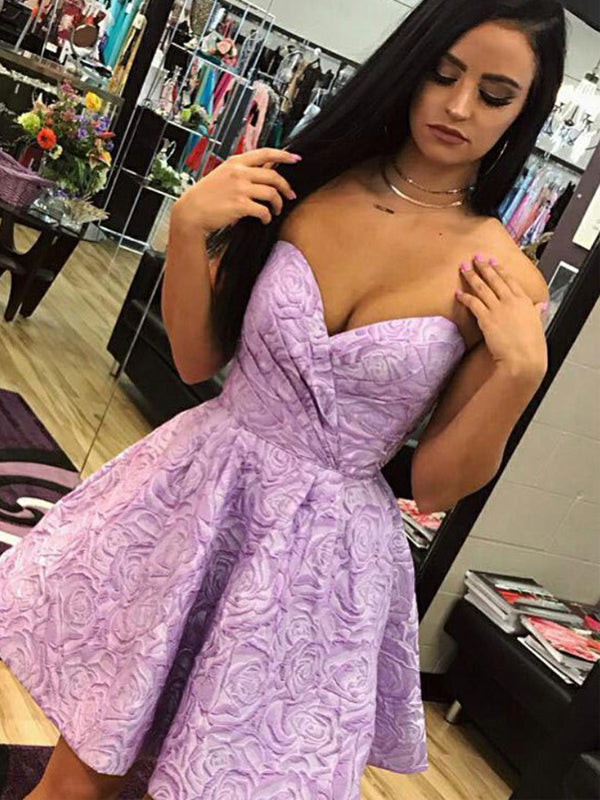 Purple Rose Floral Satin Sweetheart Strapless Homecoming Dresses,HD0051