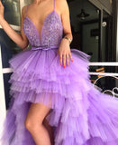 Purple Tiered Tulle High Low Spaghetti Stap Appliques  Prom Dresses ,PD00136