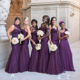 Purple Tulle Mismatched Mermaid Convertible Sweetheart Long Bridesmaid Dresses, WG159