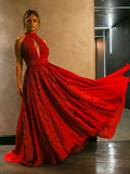 Red Lace Applique High Neck Halter A-line Prom Dresses,PD00330