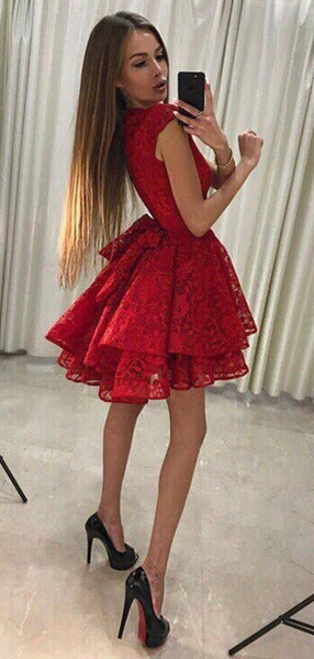 Red Lace Tiered Sleeveless Bowknot Mini Homecoming Dresses,HD0027