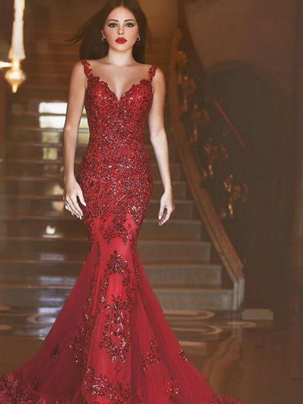 Red Mermaid Backless Sexy Party Elegant Evening Cocktail Prom