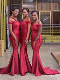 Red One Strap Off Shoulder Mermaid Sweep Train Long Bridesmaid Dresses, AB4089
