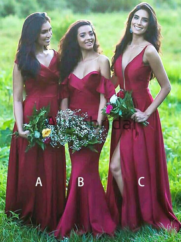 Red Satin Mismatched Simple Long Bridesmaid Dresses, AB4114
