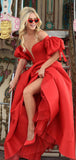 Red Satin Off Shoulder Lantern Sleeves Ball Gown Prom Dresses.PD00270