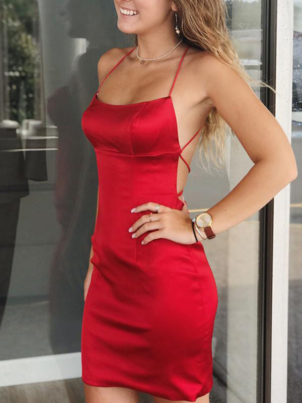 Red Satin Spaghetti Strap Lace Up Back Sheath Tight Homecoming Dresses,HD0064