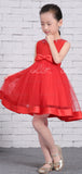 Red Satin Tulle Sparkly Neckline Cute Flower Girl Dresses, FGS135