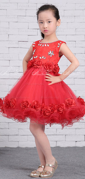 Red Tulle Rhinestone Applique Handmade Flower Sash Flower Girl Dresses, FGS136