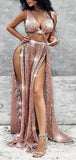 Rose Gold Sequin Sexy Side Slit Sleeveless Prom Dresses,PD00183