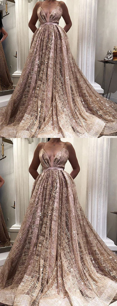 Rose Gold Sequined Tulle Spaghetti Stap Ball Gown Fashion Prom Dresses,PD00345