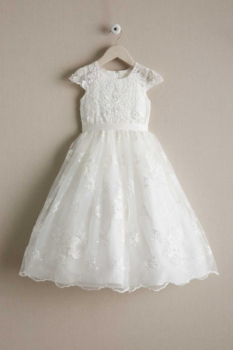 df0b386d055 Round Neck Off White Lace Cap Sleeve With Sash Long Flower Girl Dresse –  AlineBridal