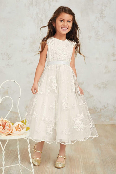 Round neck off white lace cap sleeve with sash long flower girl round neck off white lace cap sleeve with sash long flower girl dresses fgs099 mightylinksfo