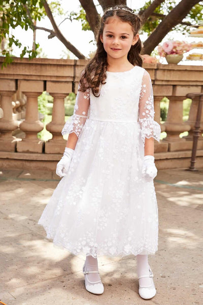 59d19b78f161 Round Neck Off White Lace Half Sleeve With Sash Long Flower Girl Dresses,  FGS098