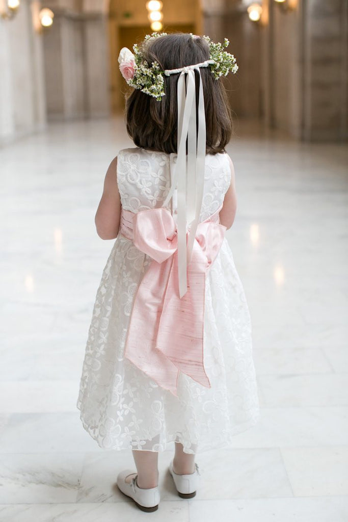 Round Neck Sleeveless Ivory Lace Pink Satin Sash  Tea Length Flower Girl Dresses, FG061