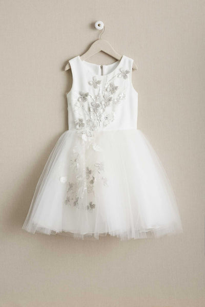 Round Neck Stunning Floral Embroidery Satin Tulle Cute  Flower Girl Dresses, FGS101