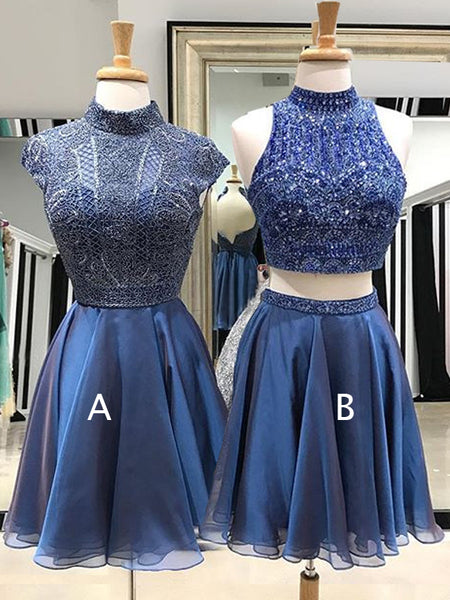 Royal Blue Beading Chiffon Mismatched Homecoming Dresses  ,HD0038