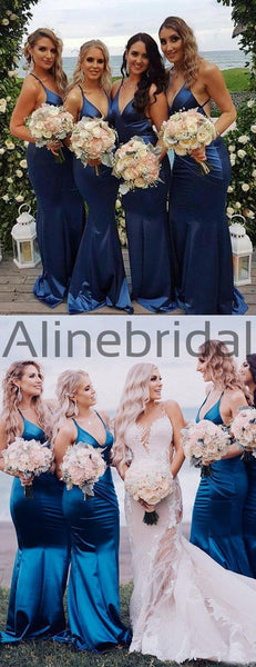 Royal Blue Elastic Satin Spaghetti Strap Mermaid Long Bridesmaid Dresses , AB4090