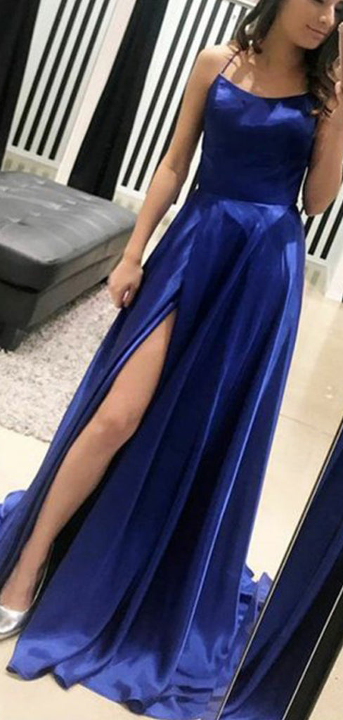 Royal Blue Fashion Spaghetti Strap Backless Lace Up Back Prom Dresses,PD00336
