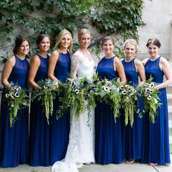 Royal Blue Jewel Neckline Sleeveless Long Bridesmaid Dresses, WG06