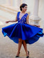 Royal Blue Lace Satin V-neck High Low Homecoming Dresses,HD0055