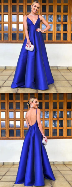 Royal Blue Satin Spaghetti Strap Scoop Backless A-line Prom Dresses,PD00376