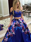 Royal Blue Two Piece Floral Prints Prom Dresses ,PD00113