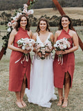 Rust Red Satin Unique Halter Tea Length Bridesmaid Dresses , AB4104