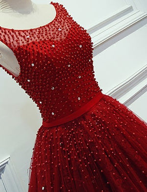 Red Beading Sparkly Unique Ball Gown Round Neck Formal Elegant Long Prom Dresses. BD0241