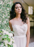 See Through Neckline Lace Top Tulle A-line Wedding Dresses, AB1170