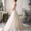 See Through Round Neck Sleeveless Lace Applique Ball Gown Wedding Dresses, WD0119