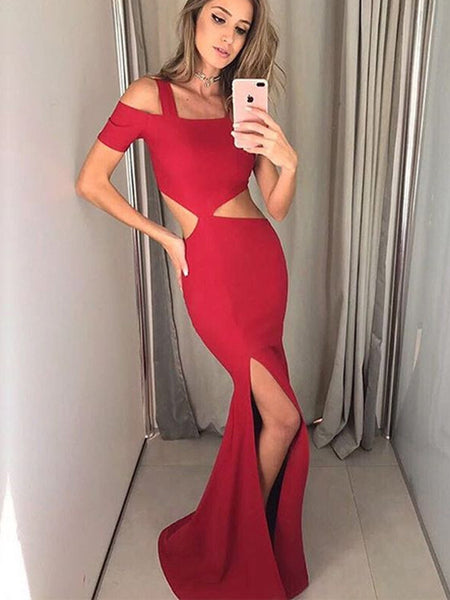 Sexy Red Square Neck Short Sleeves Cut Waistline Mermaid Split Prom Dresses,PD0131
