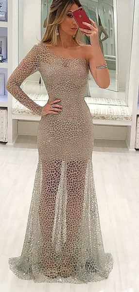 Shiny Beading One Shoulder Long Sleeve See Through Prom Dresses ,PD00200