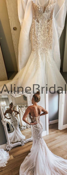 Shiny Beading Rhinestone Applique Tulle Strapless Mermaid Illusion Wedding Dresses, AB1533