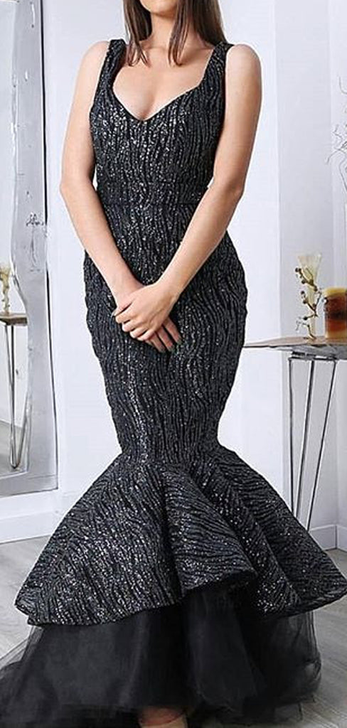 Shiny Black Satin With Sequin Mermaid Sleeveless Prom Dresses.PD00223