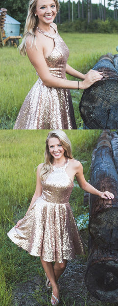 Shiny Gold Sequin Halter Simple Homecoming Dresses,HD0022