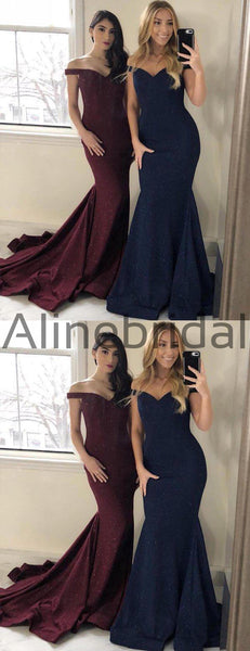 Shiny Off Shoulder Mermaid Train Charming Long Bridesmaid Dresses , AB4049