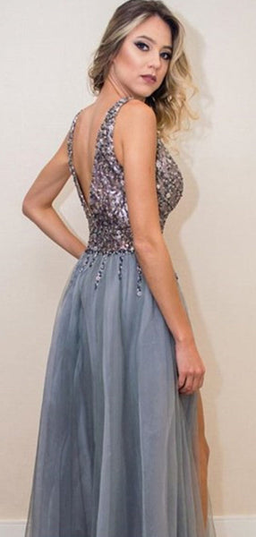 Shiny Sequin Beading Tulle Silt Sleeveless A-line Prom Dresses,PD00195