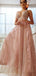 Shiny Sequin Lace Beading Sleeveless A-line Prom Dresses.PD00268