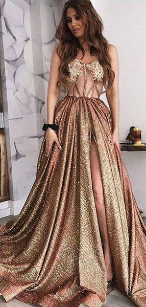 Shiny Sequin Satin Illusion Applique Sweetheart Strapless Prom Dresses,PD00176