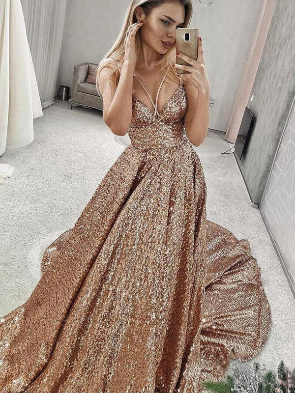 Shiny Sequin Spaghetti Strap Fashion Prom Dresses .PD00267