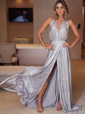 Shiny Silver Halter Charming Split Simple Prom Dresses,PD00329