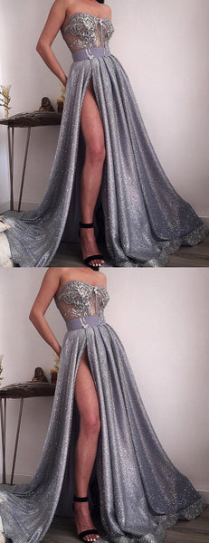 Shiny Silver Sequin Applique Strapless Illusion Prom Dresses,PD00181