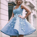 Sky Blue Beaded Appliques Handmade Flowers Stunning Homecoming Dresses,BD00111