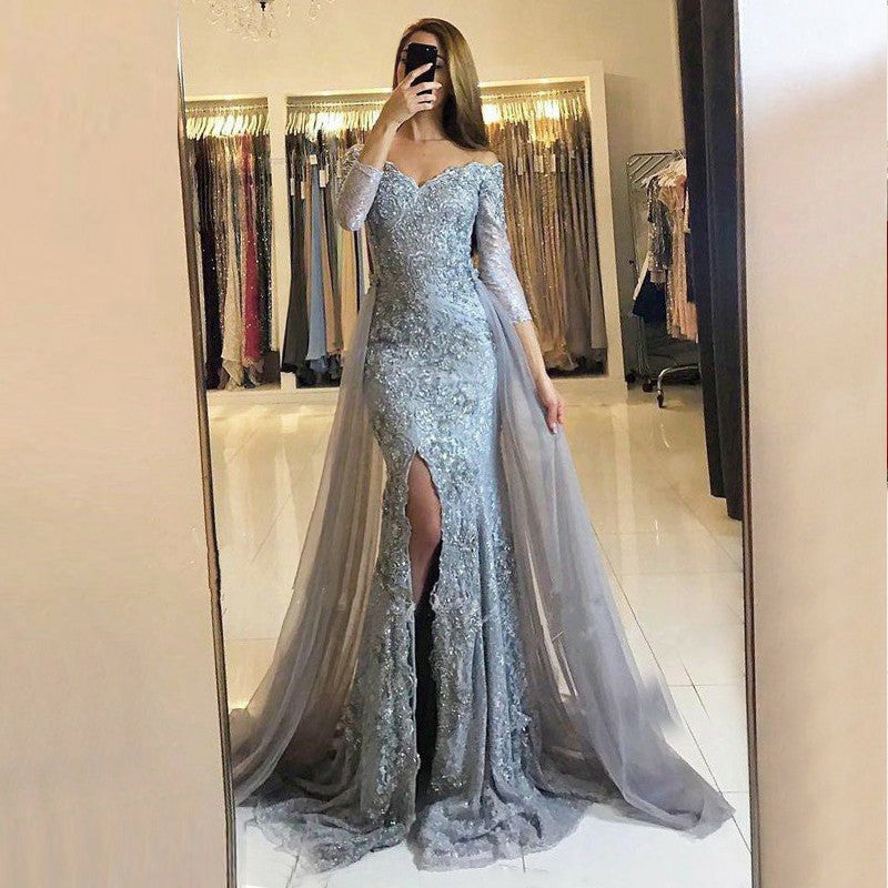 Silver Lace Grey Tulle Off Shoulder Half Sleeve Mermaid Split Long  Prom Dresses,PD00004