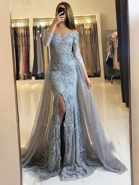 12c55d0d46b4f Silver Lace Grey Tulle Off Shoulder Half Sleeve Mermaid Split Long Prom  Dresses,PD00004
