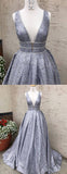 Silver Sequin Lace Beading Ball Gown Sleeveless Prom Dresses.PD00264