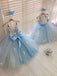 Silver Sequin Pale Blue Tulle Butterfly Applique Flower Girl Dresses, FGS142